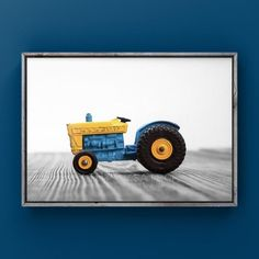 The Blue and Yellow Tractor. This listing is for One print of a vintage 1960s Lesney Matchbox and goes great as a set with my other Matchbox prints in the last picture.  Please select either photo or canvas as well as the size youd like where it says select diameter from the drop down as you place