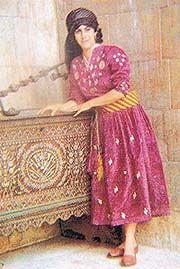 Traditional  Syrian costumes of the nineteenth century. Turkish Kaftan on a Damascene city dweller.