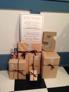 5 year anniversary.  1 gift that reminds you of each year of marriage!  My husband loved this!
