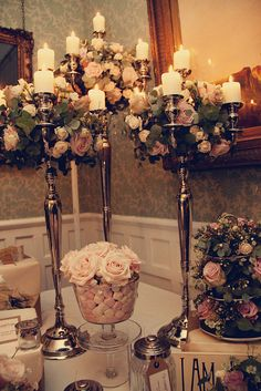 pale pink tea roses... candelabras... marshmallows... i'm in heaven.