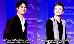 """he's one half of Klaine he's the laine part"" ""this gentleman put the K in klaine"""