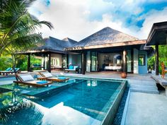 Seventy-eight freestanding beach or overwater villas, each with its own infinity pool, on a private island of soft white sand. Recently named a UNESCO Biosphere Reserve, the atoll is 35 minutes by seaplane from Male. Thatched-roof luxury, with the lagoon at center stage.