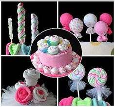 Sweet Treats Bundle of 5: Amazing ideas for baby shower gifts Lollipop Video, Lollipop Sweets, Washcloth Lollipops, Baby Lollipops, Washcloth Cupcakes, Baby Washcloth, Cupcake Gift, Gift Cake, Diaper Cake Instructions