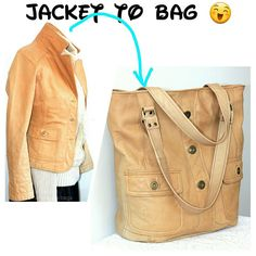 Another bag made of a leather jacket.