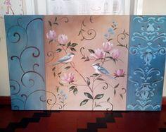 painel 1,30x80 passarinhos arabescos