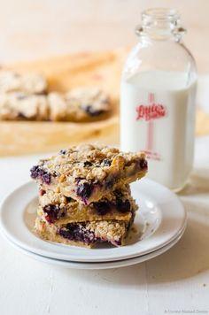 Lavender peach blueberry pie bars