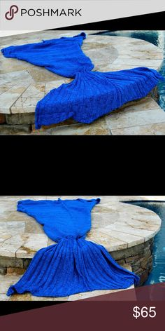Stunning Crochet Vibrant Blue Mermaid Tail Blanket This stunning crocheted Mermaid Tail comes in this vibrant blue and a subtle deep purple thread through. It enhances the color. It's Made with the highest quality acrylic fibers to create this wonderful tail throw blanket. Available in other colors too! Standard adult size is approx 3 feet by 6'2 feet.  Making it extremely snuggly. Sidekicks Other