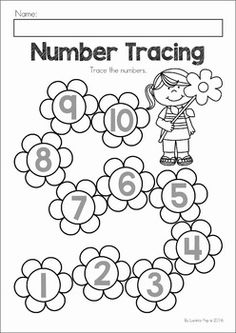 Spring Preschool No Prep Worksheets & Activities. A page from the unit: trace the numbers on the flowers