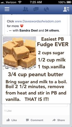Easy Peanut Butter Fudge Can add c. chocolate chips & nuts & reduce the sugar for chocolate fudge! Easy Desserts, Delicious Desserts, Dessert Recipes, Yummy Food, Tasty, Recipes Dinner, Easy Snacks, Cupcake Recipes, Do It Yourself Food