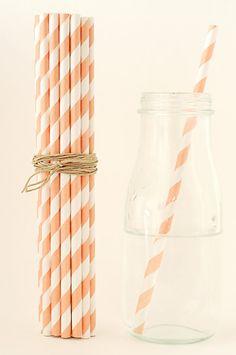 25 Striped Orange PEACH Paper Straws orange by FancyThatLoved, $4.00