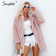 c92bba562e1 Simplee Elegant pink shaggy women faux fur coat streetwear Autumn winter  warm plush teddy coat Female plus size overcoat party