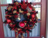 Deco Mesh Christmas Lepared Print Door Wreath