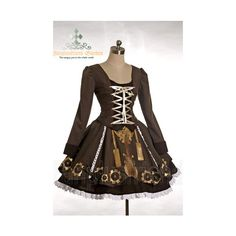 SteamPunk Cyber Industrial Gothic Lolita 3Pcs Outfit*Instant Shipping ❤ liked on Polyvore featuring dresses, gothic clothing dresses, steampunk dress, gothic lolita dress, gothic dress and steam punk dress