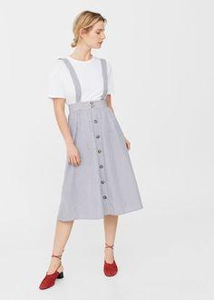 Striped pinafore dress | MANGO