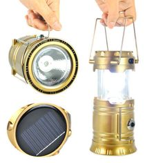 Rechargerable lantern solar 6 led flashlight outdoor camping USB charger 2 in 1 #Unbranded