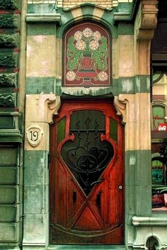 Art nouveau door in Brussels! -- It always frustrates me a little that the bottoms of the doors become so weathered. Cool Doors, The Doors, Unique Doors, Windows And Doors, Front Doors, Porte Cochere, Wood Exterior Door, Art Deco, Art Nouveau Architecture