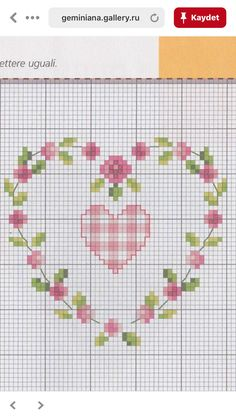 (sin título) Cross Stitch Heart, Simple Cross Stitch, Cross Stitch Flowers, Cross Stitching, Cross Stitch Embroidery, Embroidery Patterns, Wedding Cross Stitch Patterns, Cross Stitch Designs, Art Hama