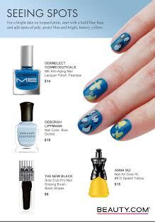 For a bright take on leopard print, start with a bold blue base and add spots of pale, pastel blue and bright, buttery yellow. Beauty.com has you covered on all of your nail polish needs.