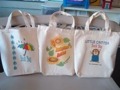 """""""Thursday Book Bags"""" are tote bags that have books and activities that share a common theme, and are for you to share with your family. You might choose to take home a """"Book Bag"""" with joke books, math books, monster books, girly books, USA books, or one of the other choices!"""