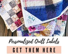 Personalized Quilt Labels Quilt In A Day, 9 Patch Quilt, Star Quilts, Scrappy Quilts, Charm Quilt, Quilt Labels, Cross Stitch Fabric, Hand Applique, Hexagon Quilt