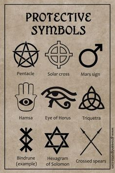 Protective magick is probably the most basic of all types of spellwork. If you don't feel safe and secure, it's difficult to enjoy any of the pleasures of life. symbol Magickal symbols of protection Witch Symbols, Alchemy Symbols, Magic Symbols, Symbols And Meanings, Egyptian Symbols, Ancient Symbols, Viking Symbols, Viking Runes, Wiccan Protection Symbols