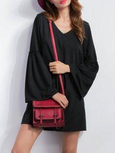 V Neck Bell Sleeve Shift Mini Dress - Black