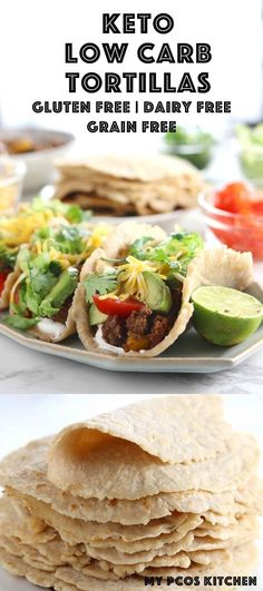 Low Carb Almond Flour Keto Tortillas Recipe - My PCOS Kitchen - The most chewy and pliable low carb tortilla you will ever make. made with psyllium husk powder and almond flour. via My PCOS Kitchen Almond Flour Tortilla Recipe, Recipes With Flour Tortillas, Gluten Free Tortillas, Low Carb Tortillas, Homemade Tortillas, Low Carb Dinner Recipes, Healthy Recipes, Mexican Food Recipes, Diet Recipes