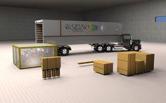 Carreta e mercadorias em CG