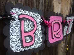 Bride To Be Banner pink black & white damask by SweetBugABoo, $26.00