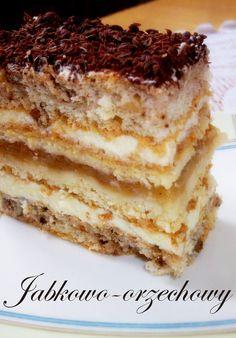 Domowe Wypieki: CIASTO JABŁKOWO - ORZECHOWE Polish Cake Recipe, Polish Recipes, No Bake Desserts, Delicious Desserts, Dessert Recipes, Homemade Pastries, Homemade Cakes, Kitchen Boss, Apple Cake Recipes