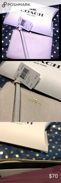 Authentic Coach Zip Wallet 🙌 New with tags Coach Wallet. This Wallet comes in a Coach box with care instructions. Graciously open to reasonable offers 🌼 Cream colored❤️ Coach Accessories