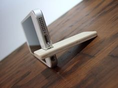 iPhone 5 stand maple with chocolate felt by yournestinspired, $17.00