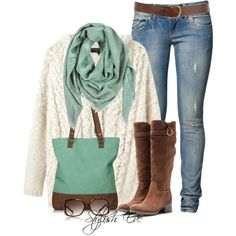 Business casual work outfit: cream sweater, mint scarf, skinny jeans and brown boots.