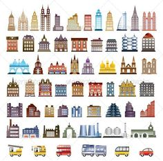 Set of Vector Buildings and Transport