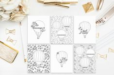Hot Air Balloon Coloring Pages Book Instant by froufroucraft