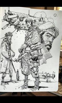 Enjoy an original collection of Sketches by Ian McQue. Ian is a concept artist/illustrator. Art And Illustration, Character Illustration, Comic Kunst, Comic Art, Drawing Sketches, Art Drawings, Sketching, Arte Sketchbook, Sketchbook Inspiration