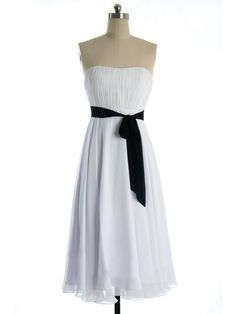 2015 Black Sash Ruched Sleeveless Strapless White Chiffon Short Length Cocktail / Homecoming / Prom Dress TBQP061