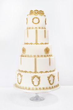 Ivory and gold elegant rococo style wedding cake. #luxurycake #opulent #weddingcakedesigns Luxury Cake, Luxury Wedding Cake, Wedding Cakes, London Cake, Regal Design, Rococo Style, Wedding Cake Designs, Cake Creations, Cake Art