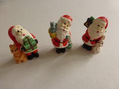 Vintage Miniature Resin Santas by papertales on Etsy