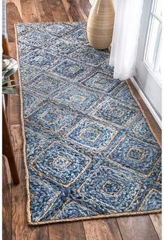 Boardwalk Hand Braided Jute Diamonds On Denim Blue Rug Rugs USA – Area Rugs in many styles including Contemporary, Braided, Outdoor and Flokati Shag rug Denim Rug, Meditation Mat, Braided Area Rugs, Denim Crafts, Upcycled Crafts, Rugs Usa, Jute Rug, Natural Rug, Rug Making