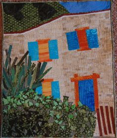 """Provence House, 16 x 20"""", by Mary Beth Anderson.  Photo-inspired; started in a class by Sue Benner.  Some of the pieces are 1/4"""" square"""