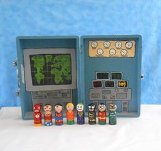 Made to Order:  Justice Seeking Superhero Peg People with Large Suitcase Style Travel Case