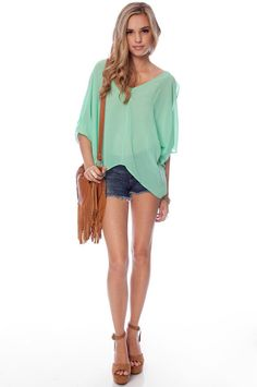 Batty Chiffon Top. This color's very spring, but the mauve could be for fall...