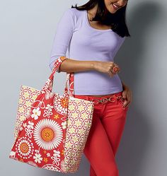 Gift idea for the friend who's got a beach vacation planned: a beach tote in bright coordinating prints. From Butterick and Waverly.