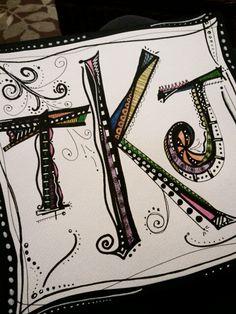 My whimsical monogram from Joanne Sharpe's Letter Love 101 Class lesson