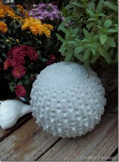 Love this Do-it-yourself concrete ball cast in an old round decorative light fixture which is then broken off of the dry concrete with a hammer. I want to try this.