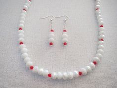40 Inch White Glass Necklace Earrings Set Red by jazzybeads