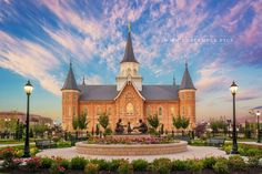 Provo City Center Temple Summer Sunrise - A peaceful summer sunrise at the Provo…