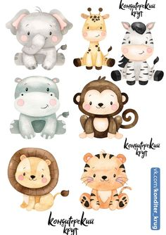 Jungle Animals, Baby Animals, Cute Animals, Jungle Theme Birthday, 1st Boy Birthday, Safari Party, Safari Theme, Kawaii Drawings, Cute Drawings
