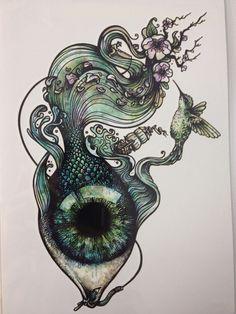 2016 Hot Sale21 X 15 CM Green Eye Tattoo Stickers Temporary Body Art  Waterproof #123